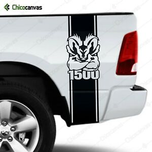 Truck Bed Vinyl Decal Fits Dodge Ram 1500 Muscle Mascot Racing Stripes Sticker