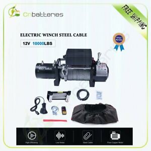 10000lbs 12v Electric Recovery Winch 80ft Steel Cable Rope Offroad W cover