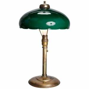 Antique Arts Crafts Emeralite Green Cased Glass Brass Table Lamp Circa 1910