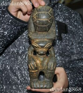 Chinese Hongshan Culture Old Jade Hand Carved Tortoise Too Sun God Statue 10