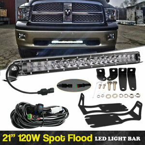 20 100w Single Row Led Work Light Bar Front W Mounting For Dodge Ram 2500 3500