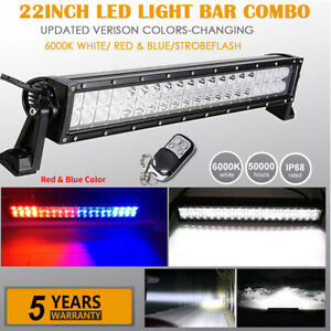 22inch Dual Colors White red Blue strobe Led Light Bar Offroad Emergency Driving