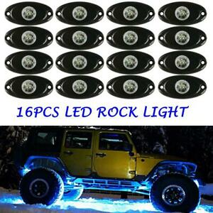 Led Rock Lights Kit Waterproof Underglow Led Neon Trail Rig Lights 16 Pods Blue