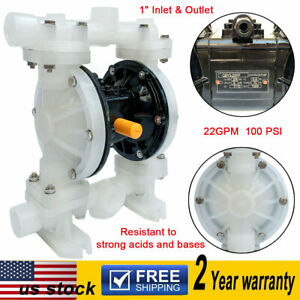 Air operated Double Diaphragm Pump 22gpm 1 Inlet Outlet Strong Acids Bases