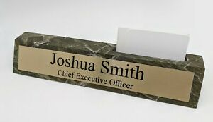 Genuine Green Marble Desk Wedge With Business Card Holder And Custom Name Plate