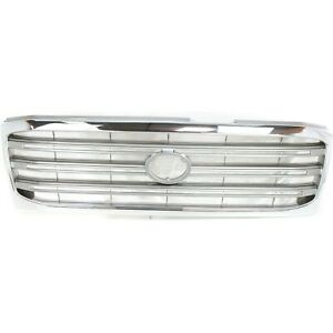 Grille For 2003 2005 Toyota Land Cruiser Chrome Shell W Silver Insert Plastic