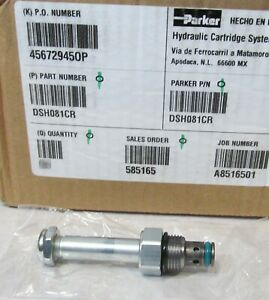 Parker Dsh081cr Cartridge For 2 way Hydraulic Solenoid Valve Size 8 Poppet Type