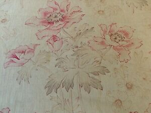 Antique Vintage French Printed Cotton Fabric 1900 Shabby Chic Pink Poppy