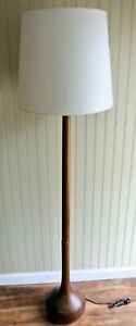 1960 S Solid Teak Onion Bulb Gourd Base Floor Lamp Mid Century Danish Modern