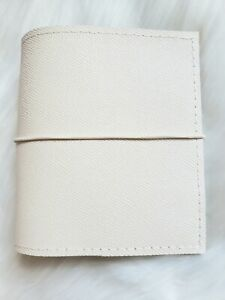 White Planner Cream Leather Agenda Pocket Chunky Notebook 30mm Ring A7 Organizer