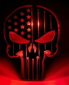 Steel Punisher Trailer Hitch Cover American Flag Patrotic Led Lights