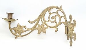 Vintage Antique Decorative Brass Candlestick Holder Wall Sconce Piano Swing Arm