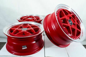 15x6 5 4x100 Red Wheels Fits Civic Scion Iq Xa Xb Cobalt Spark Miata 4 Lug Rims