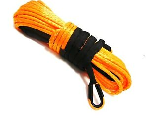 Synthetic Winch Rope 3 8 X 100ft Orange For Off Road Recovery Towing Gear