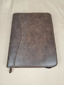 Day timer Brown Distressed Simulated Leather Desk Day Planner Binder 43184