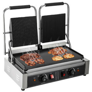 Commercial Panini Press Grill Commercial Panini Grill Double Half Grooved Plates