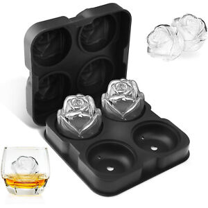 2in Round Silicone Ice Cube Ball Maker Tray Sphere Molds Bar Whiskey Cocktails