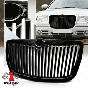 For 2005 2010 Chrysler 300 300c Vertical Bar Glossy Black Bumper Grille Grille