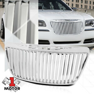 For 2011 2014 Chrysler 300 300c Vertical Bar Glossy Chrome Bumper Grille Grill