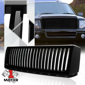 For 2007 2014 Ford Expedition vertical bar glossy Black Abs Bumper Grille Grill