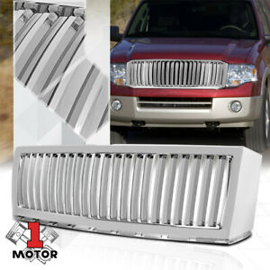 For 2007 2014 Ford Expedition Vertical Bar Glossy Chrome Abs Bumper Grille Grill