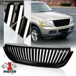For 2002 2005 Ford Explorer Vertical Bar Glossy Black Bumper Grille Vent Grill