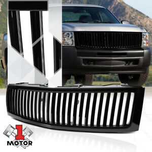 For 2007 2013 Gmt900 Silverado Vertical Bar Black Abs Bumper Grille Vent Grill