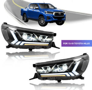 Front Led Headlights For Toyota Hilux Revo Vigo 15 19 W Sequential Turn Signal