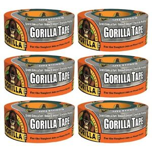 Silver Gorilla Tape Duct Tape 6071202 Strong Adhesive 1 88 In X 12 Yd 6 pack