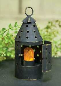 Primitive Country Small Railroad Lantern W Built In Timer Candle Free Ship