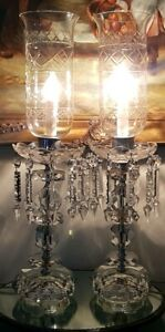 Vintage Art Deco Etched Crystal Hurricane Lamps With Prisms Set Of Two 22