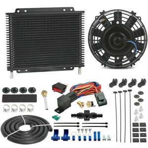 Trans Mission Oil Cooler Engine Fan 6an An6 In Line Hose Thermo Stat Switch Kit