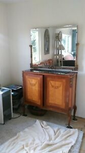 French Antique Louis Xv Burl Mahogany Antique Cocktail Cabinet Bar With Mirror