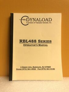 Dynaload Rbl488 Series Operator s Manual