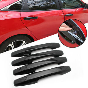 Carbon Fiber Style Door Handle Cover Trim Abs For Honda Civic 2006 2011 8th Gen