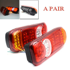 2pcs 24v Led Trailer Lights Stop Reverse Indicator Fog Lamps Boat Universal Kits