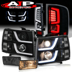 Clear Drl Head Lights Led Black Tail Lamps Smoked Fogs For 2007 2013 Silverado