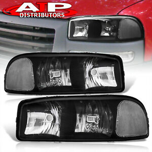 Black Clear Replacement Headlights Lamps Pair For 2000 2006 Gmc Sierra Yukon Xl