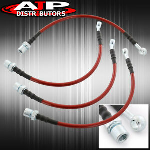 Front Rear Red Stainless Steel Oil Brake Line Cable Black For 2001 2005 Is300