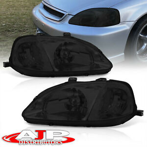 Smoked Lens Replacement Head Lights Lamps Jdm For 1999 2000 Honda Civic Ex Si Ek