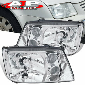 Chrome Housing Clear Lens Headlights W Chrome Fog Lights For 99 05 Jetta Mk4