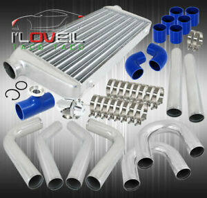 High Power Big Front Mount Intercooler Chrome Bov Blue Silicone Couplers Set
