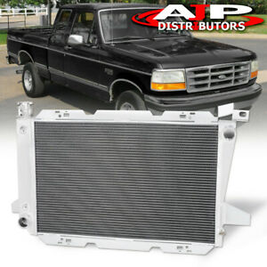 Front Mount Aluminum Performance Radiator For 1985 1996 Ford F150 F250 Bronco