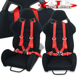2x Reclinable Black Racing Bucket Cuga Style Seat 2x 4pt Red Camlock Seatbelt