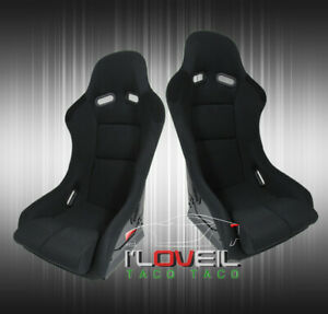 Black Cloth Full Firm Hold Bucket Car Racing Seats Side Mount Slider Rails Pair