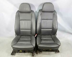 2004 2010 Bmw E60 5 series Factory Front Comfort Seat Pair Black Leather Heat Oe