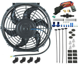 11 Inch Engine Electric Fan Trans Oil Cooler 8an In line Thermo Temp Switch Kit