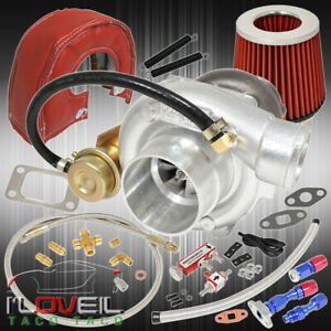 T3 T4 Turbo Air Filter Heat Shield Oil Line Kit Boost Controller Red