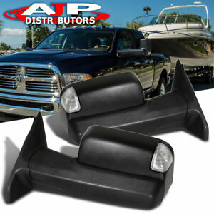 Power Heated Led Towing Tow Side Mirrors Assembly For 2009 2018 Dodge Ram Pickup