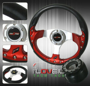 89 05 Eclipse Drift 320mm Steering Wheel Red Grip Hub Adapter Kit Jdm Horn